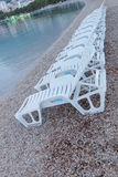 Lots of empty deck chair on the beach Stock Photography