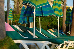 Lots empty sun loungers. A lots of empty sun loungers royalty free stock photography