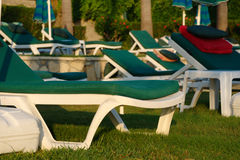 Lots empty sun loungers. A lots of empty sun loungers royalty free stock photos
