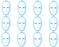 Lots of Faces. Identical faces for conformity concepts Royalty Free Stock Photography