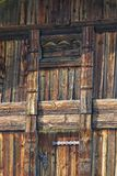 Closeup of a door of an Aitta - a traditional wooden corn and food granary in Finland royalty free stock photo