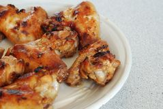Lots of fired chicken wing on plate Royalty Free Stock Photography