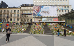Lots of flowers in central Stockholm from people paying respect Royalty Free Stock Image