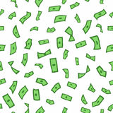 Lots of flying money Wallpaper dollars, green background of falling money, rain pattern,  seamless texture. Vector illustration Stock Photos