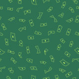 Lots of flying money Wallpaper dollars, green background of falling money, rain pattern,  seamless texture. Vector illustration Stock Images