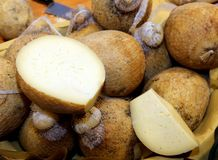 Lots of forms of caciocavallo cheese for sale on the Italian mar Royalty Free Stock Photography