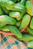Lots fresh green cucumbers wooden table Stock Photography