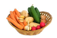 Lots of fresh vegetables. In a wicker basket Stock Image