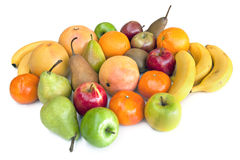 Lots of Fruit. Lots of fresh fruit, isolated on white.  Apples, bananas, pears, mandarins, oranges, grapefruit, kiwi fruit and mango Royalty Free Stock Photo