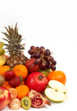 Lots of fruits. Fruits on white, space for messages Royalty Free Stock Photo