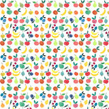 Lots of fruits and berries pattern watercolor hand sketch. Lots of different fruits and berries bright pattern watercolor hand sketch painting like a child Stock Photography