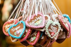 Lots of Gingerbread hearts with german words and messages Stock Photography