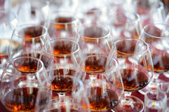 Lots of glasses with brandy Royalty Free Stock Photo
