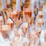 Lots of glasses filled with pink champagne Stock Photos