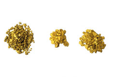 Lots of glitter and alluvial gold nuggets Stock Photography
