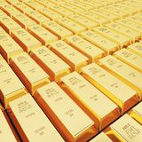 Lots of gold bars. In rows royalty free stock photography