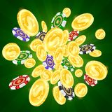 Gold coins and colored casino chips stock illustration