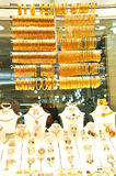 Lots of gold jewelry. Necklaces and bracelets at Istanbul Gold Souq stock images
