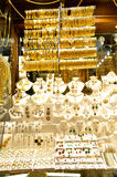 Lots of gold jewelry. Necklaces and bracelets at Istanbul Gold Souq royalty free stock image