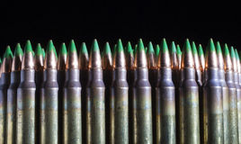 Lots of green tipped ammunition Royalty Free Stock Photo