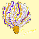 Lots of Hair Summer Girl Stock Photo