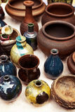Lots of handmade earthenware - ceramic pots and vases at pottery shop Stock Photo
