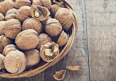Lots of healthy walnuts in shells Royalty Free Stock Photography