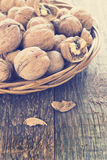 Lots of healthy walnuts in shells Royalty Free Stock Images