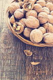 Lots of healthy walnuts in shells Royalty Free Stock Photo