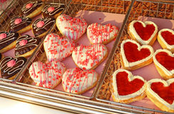 Lots of heart donuts Stock Photos