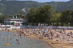 Lots holiday makers at the city beach resort of Gelendzhik, Krasnodar region, Russia Royalty Free Stock Images