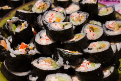 Lots of home made sushi Royalty Free Stock Photos