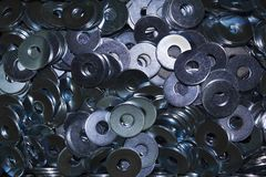 Lots of industrial galvanized steel washers Stock Images