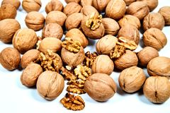 Lots of inshell Walnuts on white background royalty free stock photography