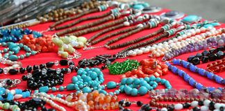 A lots of jewelry and gemstone necklaces Stock Images