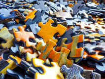 Lots of jigsaw puzzle pieces. Color toy Stock Photography