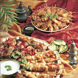 Lots of kebabs Stock Photos