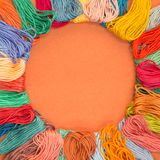Knitting wool background with copy space Royalty Free Stock Photography