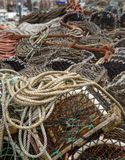 Lots of lobster cages. Background image of lobster net Royalty Free Stock Photo