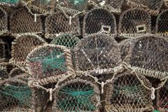 Lots of lobster cages. Background image of lobster net Royalty Free Stock Images