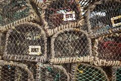 Lots of lobster cages. Background image of lobster net Stock Photography