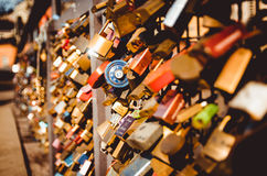 Lots of locks on a bridge Stock Photography