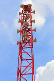 Lots of loudspeaker on high tower Stock Photo