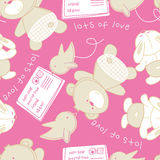 Lots of love bear and bird seamless pattern Royalty Free Stock Photos