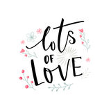 Lots of love black typography with pink and blue flowers. Valentine`s day card design.  Royalty Free Stock Photo
