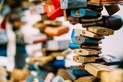 Lots of love locks on bridge in European town Royalty Free Stock Photos