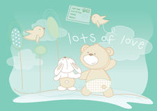 Lots of love. Vector illustration of a bear, rabbit and some birds sending mail Stock Photography