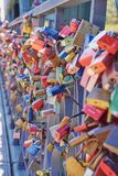 lots of lovelocks on `Eiserner Steg` bridge in Frankfurt city center, Germany royalty free stock photography