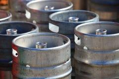 Lots of metal barrels at a beer factory Stock Image