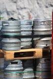 Lots of metal barrels at a beer factory Stock Photos